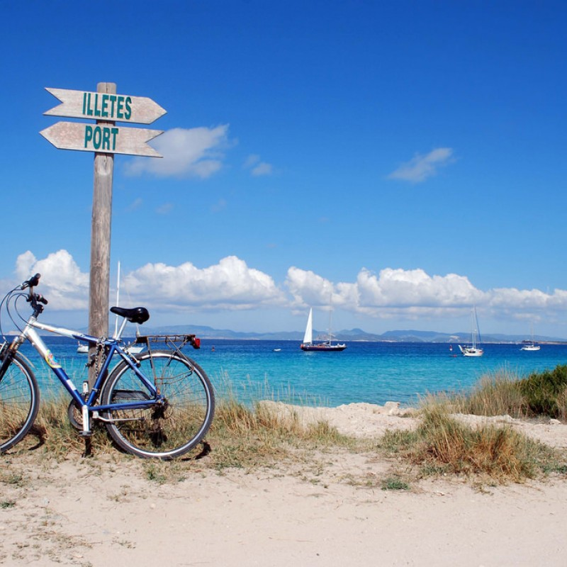 Formentera island's landscape with a bike